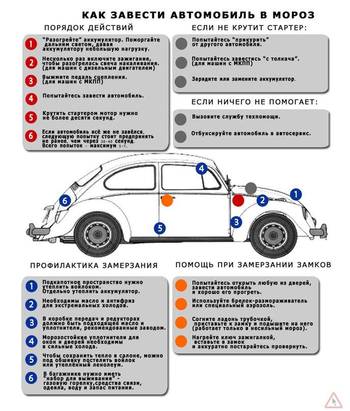 как правильно заводить автомобиль в мороз